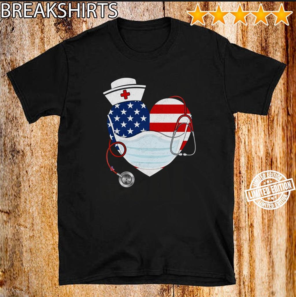 American Nurse Heart Shirt – Nurse 2020 Tee Proud Of Nurse Quarantine Nursing US Shirt