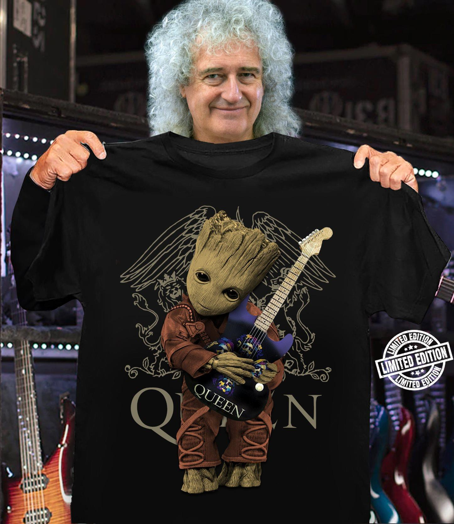 Baby Groot hug guitar queen shirt