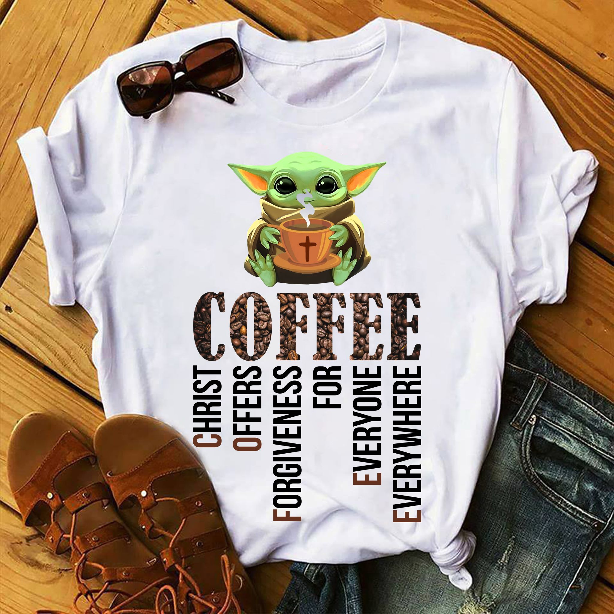 Baby Yoda Coffee christ offers forgiveness shirt
