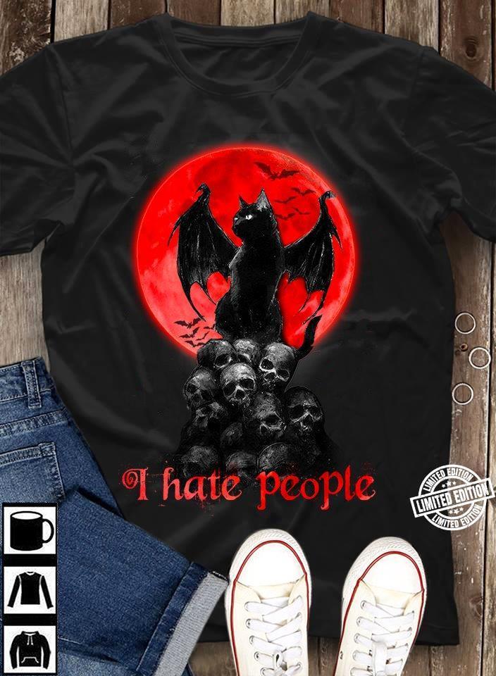 Black skull I hate people shirt