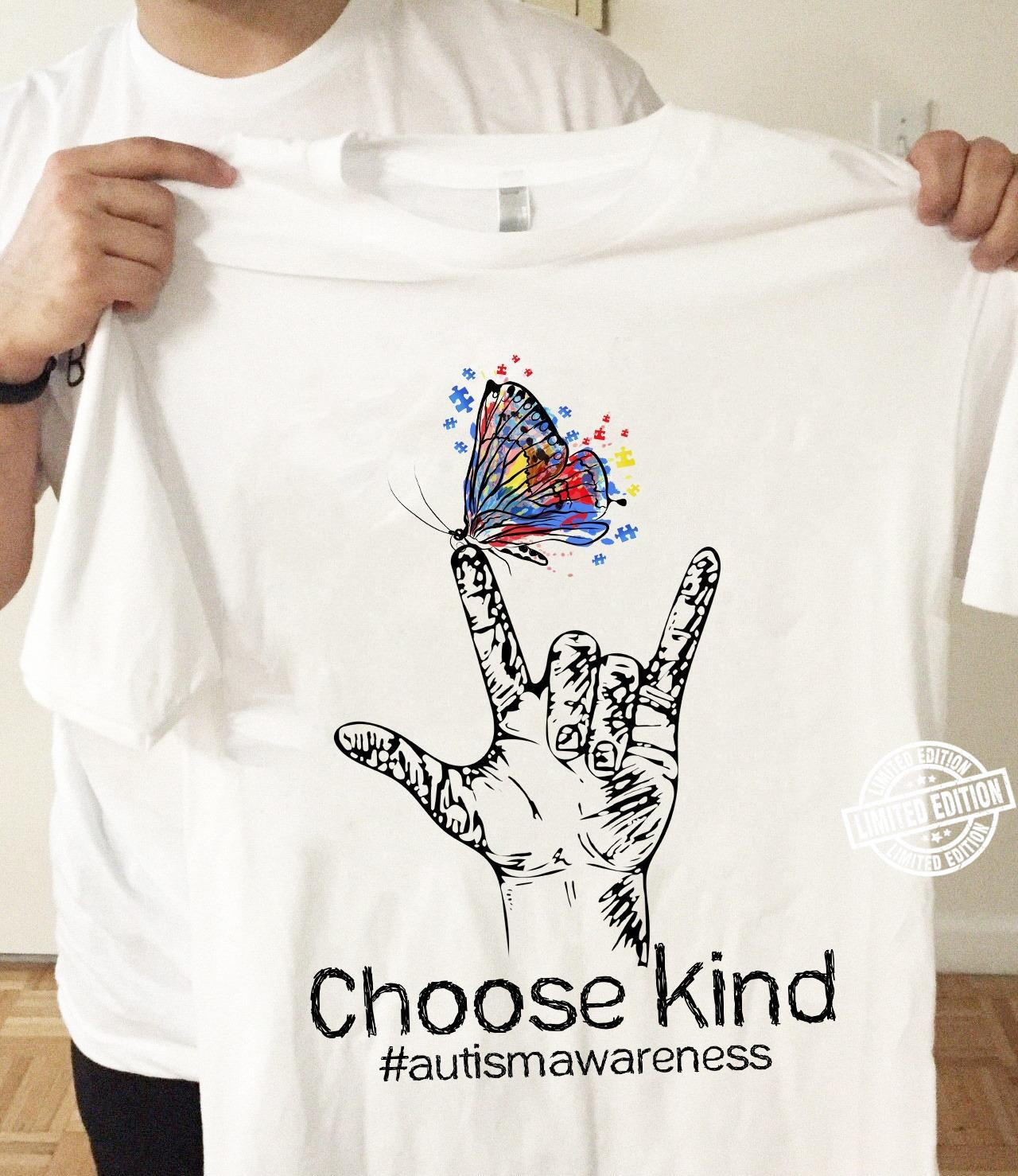 Choose kind autism awareness butterfly shirt