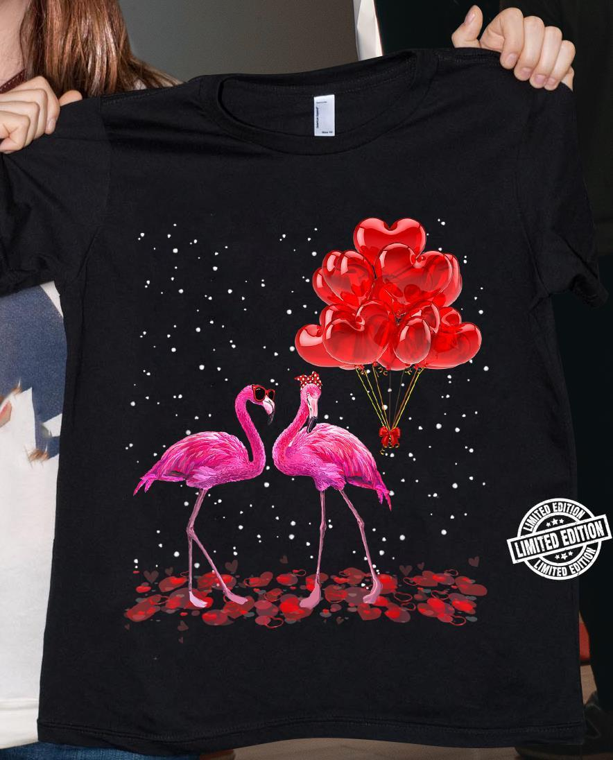 Flamingo couple love valentine shirt