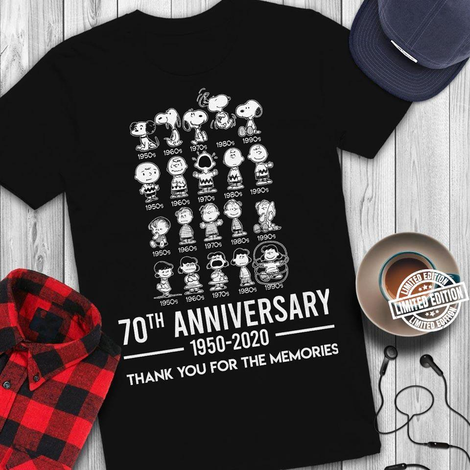 Snoopy 70th anniversary 1950-2020 thank you for the memories shirt
